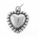 Beaded Heart Sterling Silver Charm