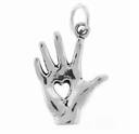 Heart in Hand Sterling Silver Charm