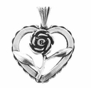 Heart w/Rose Sterling Silver Charm