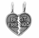 Best Friends Heart Sterling Silver Charm