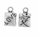 Satin 2 Sided Love Sterling Silver Charm
