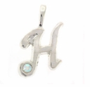 Initial H Sterling Silver Pendant with Crystal