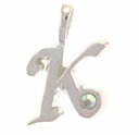 Inital K Sterling Silver Pendant with Crystal