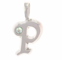 Initial P Sterling Silver Pendant with Crystal