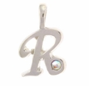 Initial R Sterling Silver Pendant with Crystal