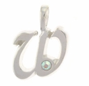 Initial W Sterling Silver Pendant with Crystal