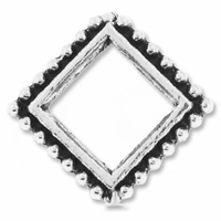 Antiqued Silver 13mm Diamond Bead Frame (1PC)