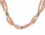 Multi-Strand Peach Pearl Necklace
