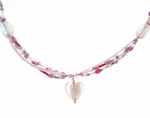Silver Foil Heart Multi-Strand Necklace
