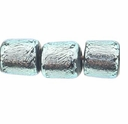 7mm Silver Black Dichroic Tube Glass Bead (1PC)
