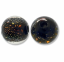 10mm Black and Orange Dichroic Round Glass Beads (1PC)