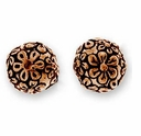 Antique Copper Flower Round Bead