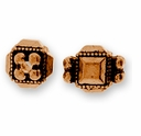 Antique Copper Deco Cube Bead