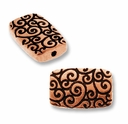 Antique Copper Rectangle Scroll Bead