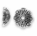 Antique Silver 8mm Oasis Bead Cap