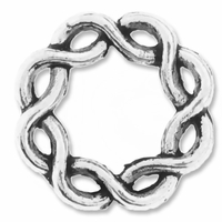 Antiqued Silver 14mm Weaved Round Bead Frame (5PK)