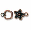 Antique Copper Apple Flower Hook & Eye  (1 Set)