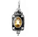 Oval Faceted Citrine Gemstone Pendant