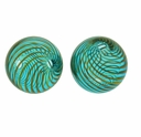 Hand Blown 13mm Round Aqua/Gold Swirl Beads (1 PC)