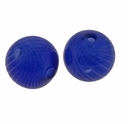 Hand Blown 13mm Round Dark Blue/White Swirl Beads (1 PC)