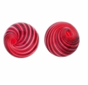 Hand Blown 13mm Round Red/Black White Swirl Beads (1 PC)