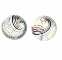 Hand Blown Glass Beads 13mm Round Clear Blue Brown  Green Swirl (1PC)