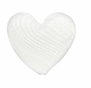 Hand Blown Heart 20mm Clear/White Swirl Beads (1 PC)