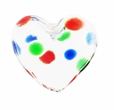 Hand Blown Heart Glass 20mm Clear with Colored Dots (1PC)
