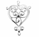 Silver Plated 3 Way Heart Dangler Filigree (1PC)