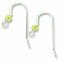Sterling Silver Flat Ear Wire w/3mm Peridot Bead (1PR)