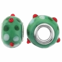 MIOVI™ Lampwork Large Hole Beads w/SP Grommets 14x9mm Green Holly Design (6PK)