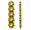 Antique Gold 5 Hole 6mm Heishi Spacer Bar