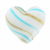 Hand Blown Heart Glass 20mm White /Turquoise /Gold Swirl (1PC)