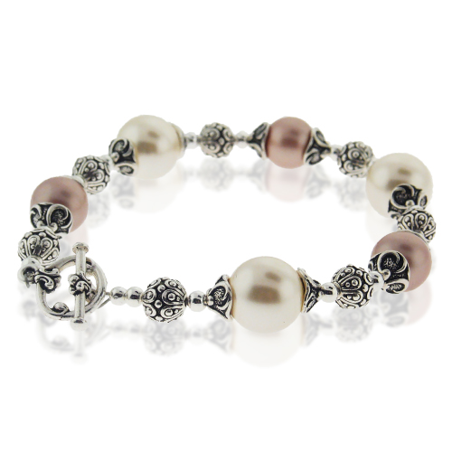 Bracelet Pearl Crystal Pewter Beads Toggle Clasp