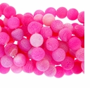 12mm Pink Efflorescence Agate Round Beads 14 inch Strand