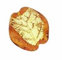 Czech Gold Foil Leaves 23/22mm Topaz (1pc)