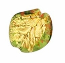 Czech Gold Foil Leaves 23/22mm Olivine (1pc)