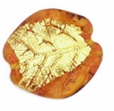 Czech Gold Foil Leaves 25/24mm Topaz (1pc)