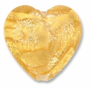 18mm Gold Foil Clear Heart Bead (1pc)