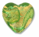 18mm Gold Foil Peridot Heart Bead (1pc)