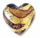 18mm Gold Foil Amethyst Heart (1pc)