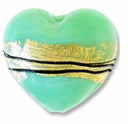 18mm Gold Foil Lampwork Heart Bead Mint Green (1pc)