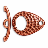 Copper Hammertone Elipse Clasp Set