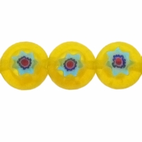 Yellow Glass Millefiori 8mm Flat Round Beads 16-Inch Strand