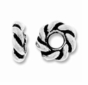 Antique Silver 7mm Twisted Lg. Hole Spacer