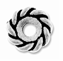 Antique Silver 10mm Twisted Lg. Hole Spacer