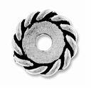 Anti. Silver 12mm Twisted Lg. Hole Spacer