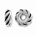 Antique Silver 8mm Wide Twisted Lg. Hole Spacer