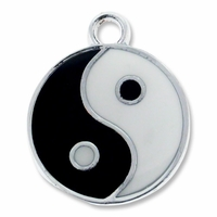 Silver Plated Enameled Ying Yang Charm (1PC)