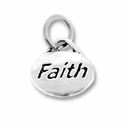 Silver Finish Pewter Message Charm FAITH (1pc)